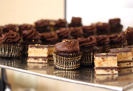 An assortment of chocolate treats for the reception.