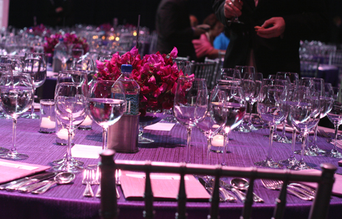 The glitzy table settings.