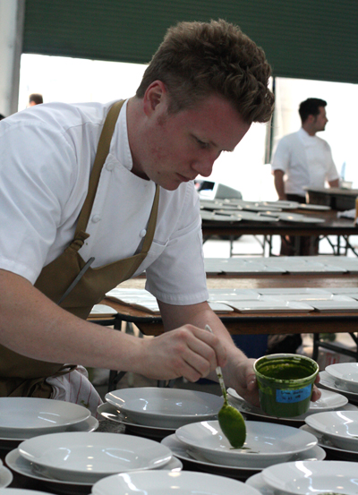 Chef Thomas McNaughton of Flour + Water starting on his first course.