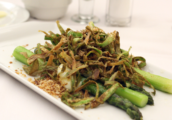 A generous-sized asparagus salad, cooked by students at the International Culinary Center in Campbell.