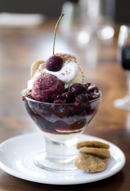 Dig a spoon into this Bing cherry sundae. (Photo courtesy of Bluestem Brasserie