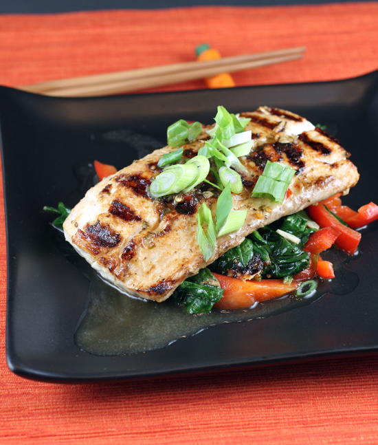 "Grilled fish gets enlivened by a drizzle of ""My Thai Gourmet Sauce.''"