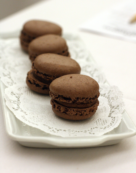 What's a meal without a few chocolate macarons to nibble on?