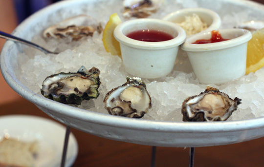 Briny, sweet oysters on the half shell with fresh grated horseradish.