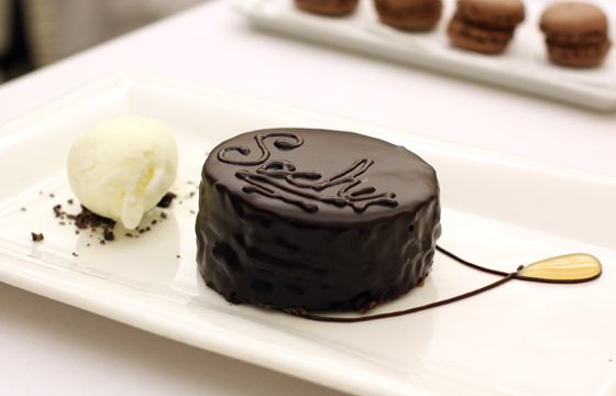 Sacher cake gets a lovely presentation.