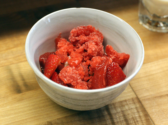Vivid strawberry granita with tapioca.