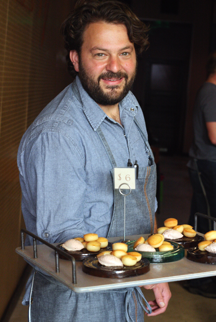 Chef Stuart Brioza offers up duck liver mousse with almond biscuits at State Bird Provisions.