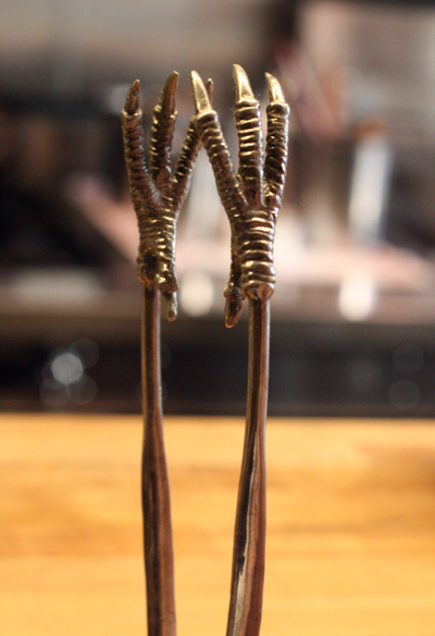 Talon tongs. Would you believe the chef received it as a wedding gift?