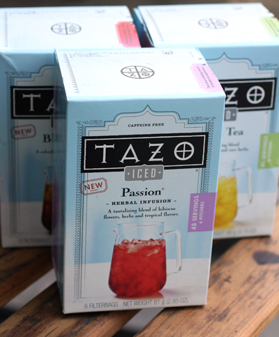 The iced tea satchels come in three varieties.