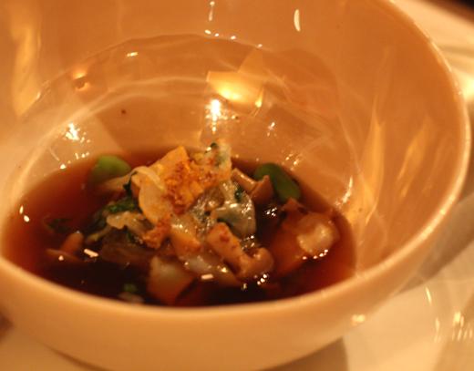 Abalone in porcini brodo.