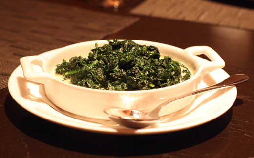 Creamed spinach -- with absinthe. Genius idea!
