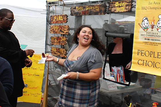 Joanne Pang of Bad S BBQ at last year's event. (Photo courtesy of the Bay Area BBQ Championship)