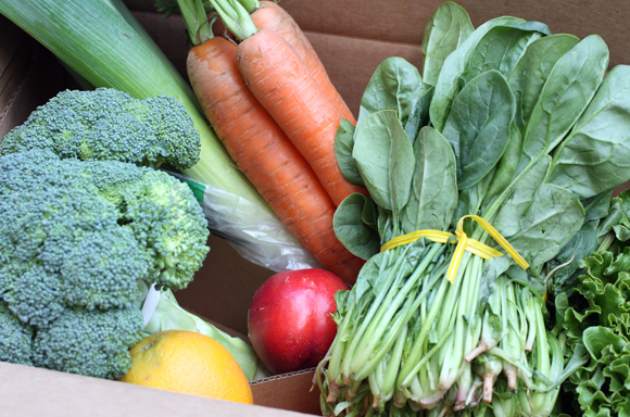 A typical small box of produce box from the new Full Circle delivery service.