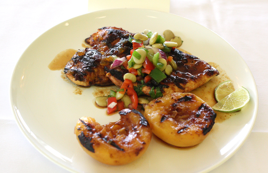 "LaRochelle's ""Glazed Peach-Chipotle Chicken & Lima Bean Salsa."""