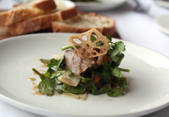 Duck and watercress salad topped with a crisp slice of lotus root.