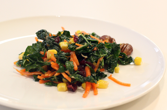 Chiu's crunchy, vibrant kale and corn salad with a punchy Asian vinaigrette.