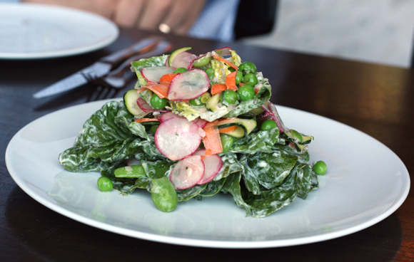 Little Gem salad with spring veggies and Green Goddess dressing at Redd Wood in Yountville. (Photo by Carolyn Jung)