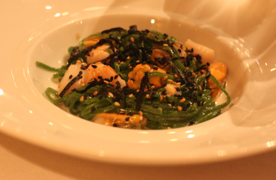Seafood chitarra with seaweed and sesame.