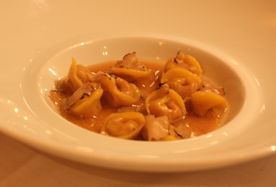 Veal tortellini with truffles.