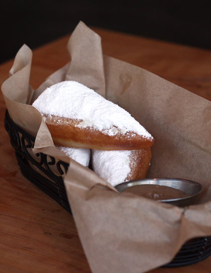 Beignets with chocolate-espresso cream.