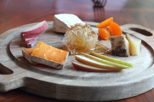 A selection of cheeses.