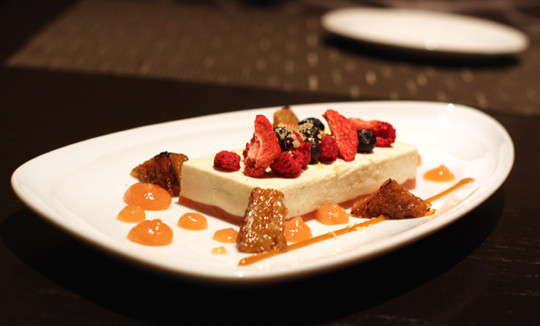 Panna cotta with tiny wedges of French toast -- and a sprinkle of Pop Rocks.