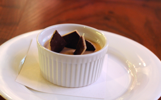 Butterscotch pudding with salted toffee crunch.