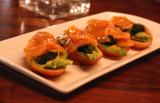 Arctic char bruschetta -- rich and wondrous.