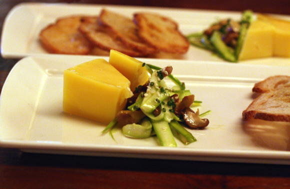 Shaved asparagus salad with a raw cow's milk cheese at Press Club.