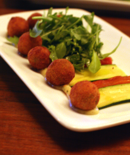 Fried olives stuffed with smoky eggplant puree.