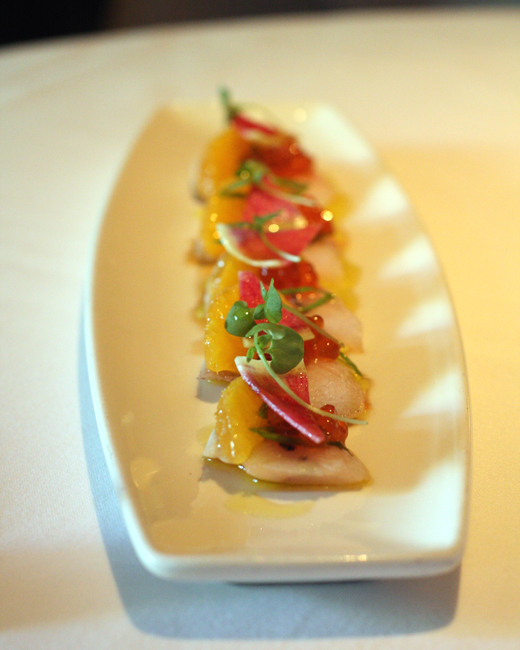 A popular starter of hamachi sashimi at Absinthe Brasserie and Bar in San Francisco.