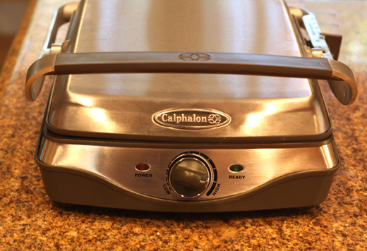 My gleaming new Calphalon panini press.