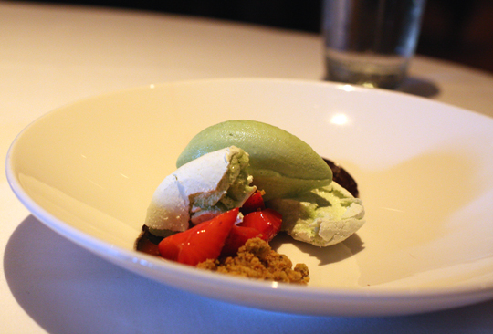 A striking pavlova with tarragon ice cream.