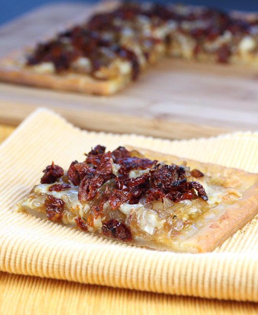 Mustard cream, sweet onions, Gruyere cheese and sun-dried tomatoes crown this buttery, flaky tart.