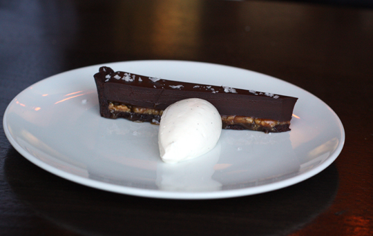 A sample sliver of chocolate caramel torte.
