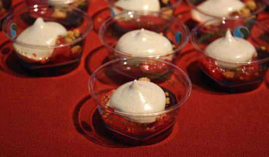 Absinthe's roasted strawberries with tarragon meringue.