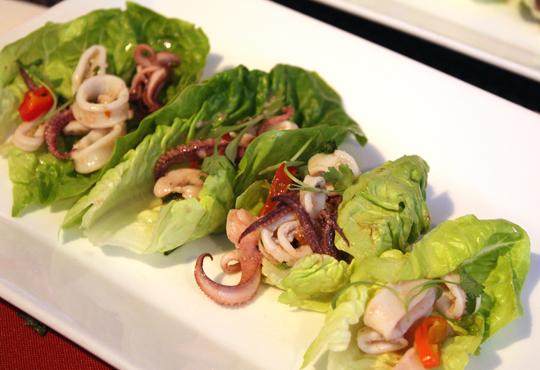 Baker & Banker's calamari larb lettuce rolls.