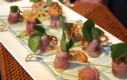 Chaya's smoked duck breast rolls.