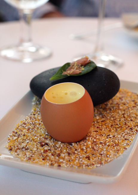 What a way to start the meal, but with an egg that tastes smoky and a leaf that tastes like an oyster.