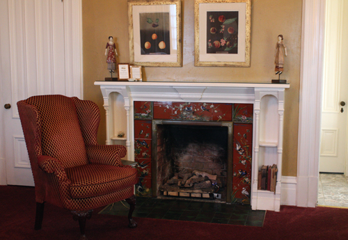 The period fireplace inside the room.