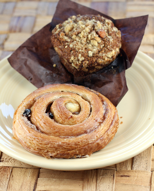 A flaky snail and a banana-bran muffin from Della Fattoria.