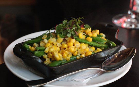 Summer corn and sugar snap peas.