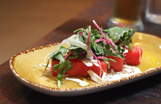 A bright watermelon salad that's a delight.