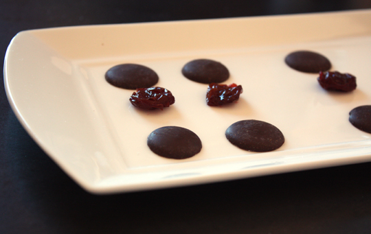 Dark chocolate and dried cherries.