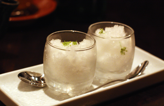 Granita to cleanse the palate.