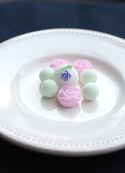 Fanciful sugar balls and flowers.