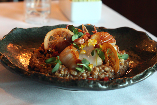 Scallops with citrus, farro and jungle peanuts.