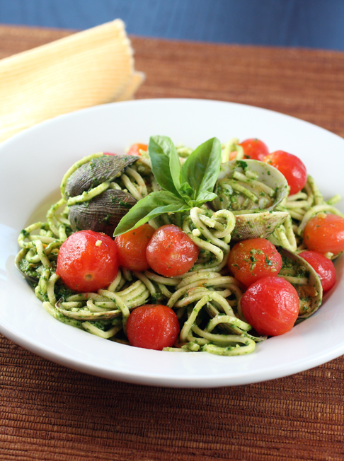 Smoked linguini with clams, pesto and peeled cherry tomatoes -- all from scratch.
