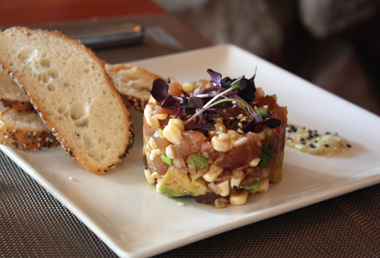 Tuna tartare with corn and avocado.