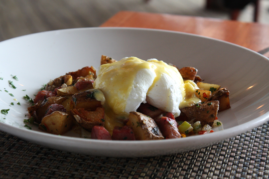 A hearty breakfast of corned beef hash to fuel you for a hike afterward.